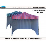 STRIPE POP UP GAZEBO Hercules II Hex 45S 3x3m+WALL