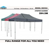 STRIPED POP UP GAZEBO Hercules II Hex 45A 3x4.5m