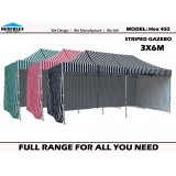 STRIPE POP UP GAZEBO Hercules II Hex 45S 3x6m+WALL