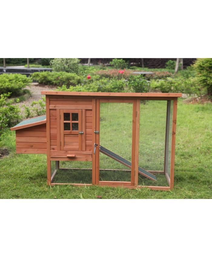 Chicken Coop - Rabbit Hutch L with Open Roof