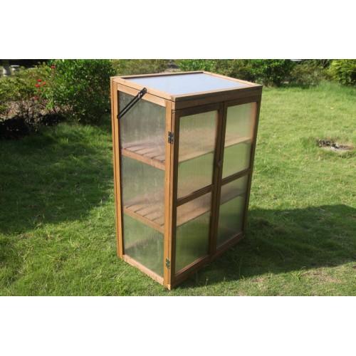 Portable Wooden Planter Mini Greenhouse