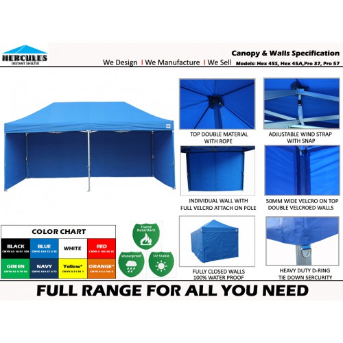 POP UP GAZEBO HEX 45S 3x6m w/WALLS  - WHITE FRAME EDITION