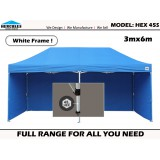 POP UP GAZEBO HEX 45S 3x6m w/WALLS  - WHITE FRAME EDITION